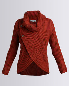 Utopia Wrap Knitwear Jumper With Cowl Neck Rust