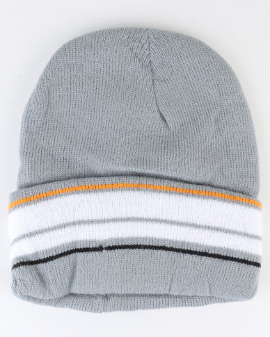 Utopia Ladies Stripe Foldover Beanie Light Grey
