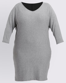 Utopia Plus Melange Knit Tunic Dress Grey