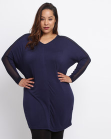 Utopia Plus Tunic Top With Mesh Inset Navy