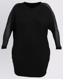 Utopia Plus Tunic Top With Mesh Inset Black