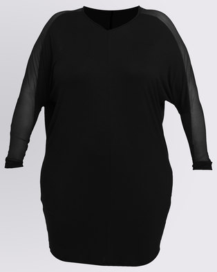 Utopia Plus Tunic Top With Mesh Inset Black