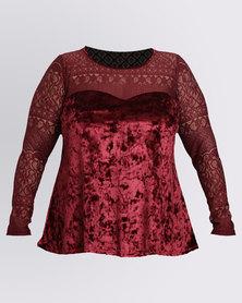 Utopia Plus Velvet/Lace Sweetheart Tunic Top Burgundy