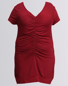 Utopia Plus Ruched Top Burgundy