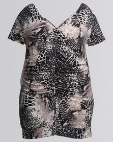 Utopia Plus Animal Printed Ruched Top