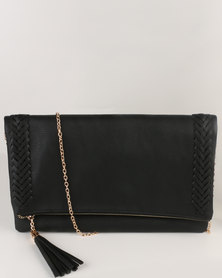 Vikson Weave Tassel Clutch Bag Black
