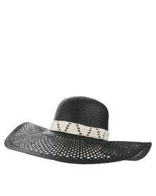Volcom To Be in The Sea Straw Wide Brim Hat Black