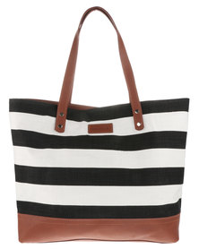 Willow Tree Everyday Stripe Canvas and Leather Tote Bag Black/White