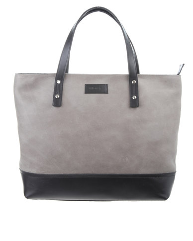 Tree Structured Leather Tote Bag Grey