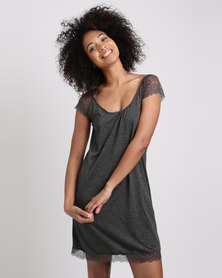 Women'secret Nightdress Dark Melange Grey