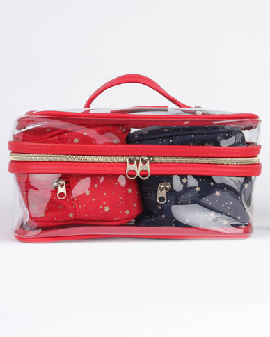 Women'secret Large Vanity Case Red/Transparent