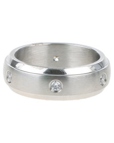 Xcalibur Mens 6 CZ Stones Ring Silver-Tone