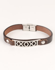 Xcalibur Mens PU Bracelet Brown