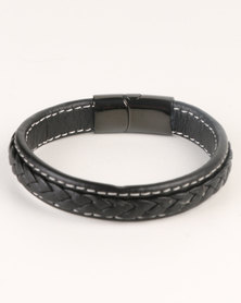Xcalibur Mens PU Plait Bracelet Black
