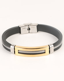 Xcalibur Mens PU With Gold Bar Detail Bracelet Black