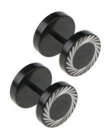 Xcalibur Mens Stud Earrings Black