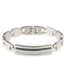 Xcalibur Carbon Fibre Inserts Detail Wristwear Silver-Tone