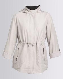 Yarra Trail Hooded Scoop Hem Jacket Nude