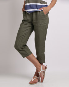 Yarra Trail Washer Linen Cropped Pants Olive
