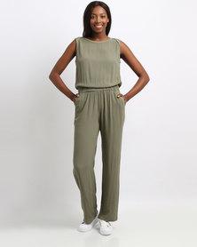 YAYA Wide Leg Jumpsuit Green