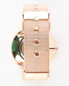 You & I Loose Diamante Mesh Mixed Metal Strap Watch Rose Gold-tone
