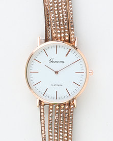 You & I Mixed Metal Watch Casing With diamante detail on PU Strap Gold-tone