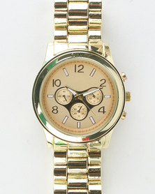You & I Chronograph Watch With Mixed Metal Casing Adjustable Links Gold-tone