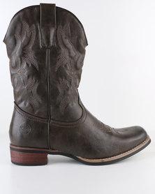 Zah Rambler Casual Cowboy Boot Dark Brown