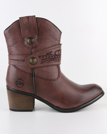 Zah Dakota Heeled Ankle Boots Brown