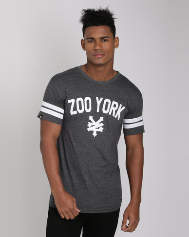 Zoo York Stripe Short Sleeve Marled Tee Charcoal Melange
