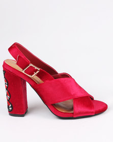 ZOOM Candice Block Heels Red