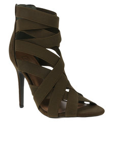ZOOM Goldie Elasticated Strapped Heel Olive