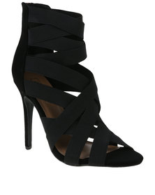 ZOOM Exclusive Goldie Elasticated Strapped Heel Black