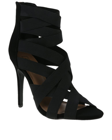 ZOOM Exclusive Goldie Elasticated Strapped Heel Black