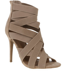 ZOOM Exclusive Goldie Elasticated Strapped Heel Nude