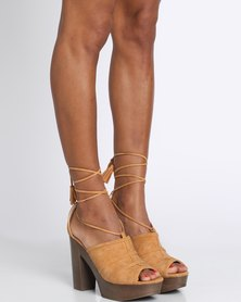 Zoom Lena Platform Lace Up Heel Camel