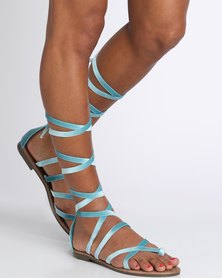 Zoom Lily Lace Up Flat Sandal Turquoise