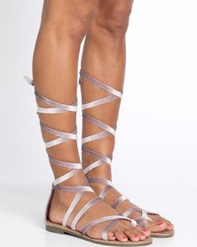 Zoom Lily Lace Up Flat Sandal Stone