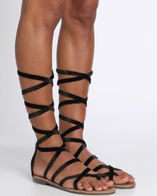 Zoom Lily Lace Up Flat Sandal Black