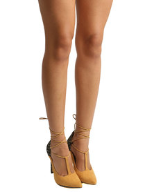 ZOOM Angel Lace Up High Heel Tan