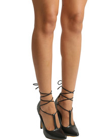 ZOOM Angel Lace Up High Heel Black